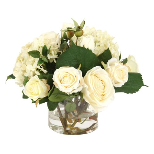 Distinctive Designs Silk Roses and Hydrangeas in Glass Vase