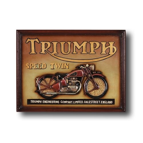 Game Room Triumph Speed Twin Motorcycle Framed Vintage Advertisement