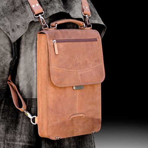 Premium Leather Flight Case Briefcase with Backpack Straps