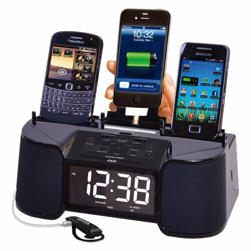 4 Port Charger with Speaker, Alarm, Clock and FM Radio