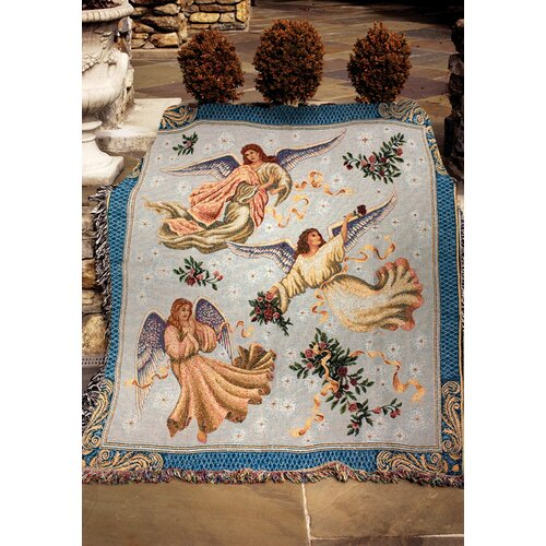 Manual Woodworkers & Weavers Angels on High 2 Tapestry Cotton Throw