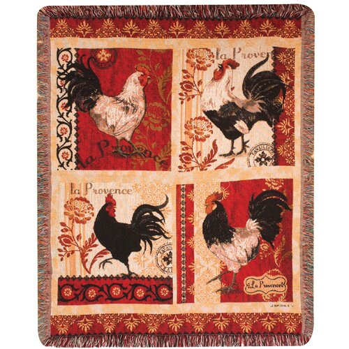 Manual Woodworkers & Weavers La Provence Roosters Tapestry Cotton Throw