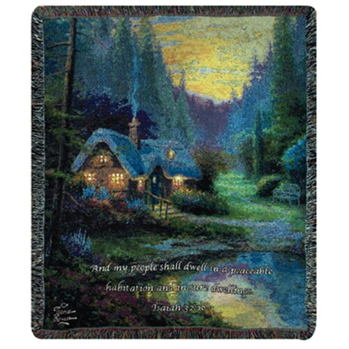 Manual Woodworkers & Weavers Meadowood Cottage Verse Tapestry Cotton Throw