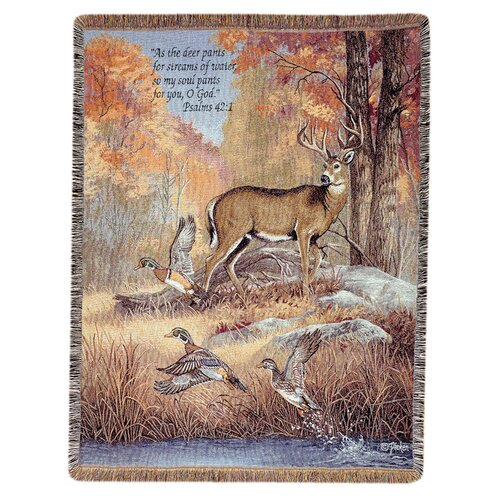 Manual Woodworkers & Weavers Fur Feathers and Fall Verse Tapestry Cotton Throw