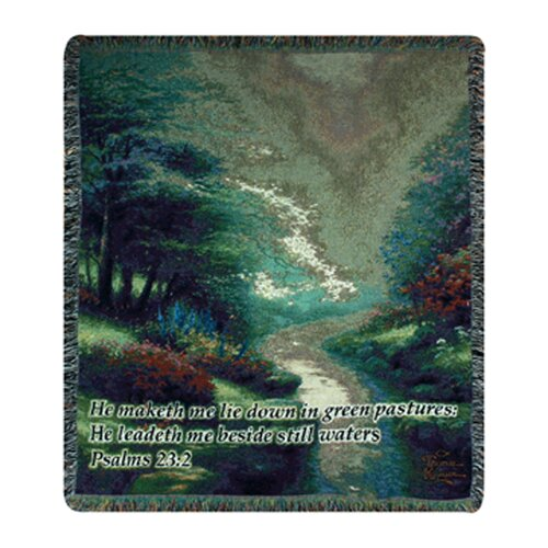 Manual Woodworkers & Weavers Petals of Hope Verse Tapestry Cotton Throw