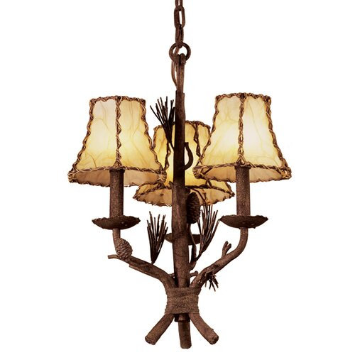 Ponderosa 3 Light Chandelier with Leather Wrapped Shade