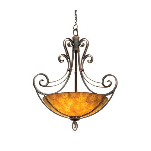 Mirabelle 6 Light Bowl Inverted Pendant in Antique Copper