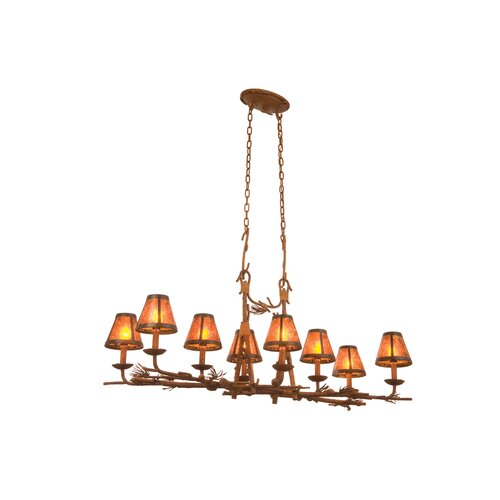 Ponderosa 8 Light Chandelier with Mica Shade