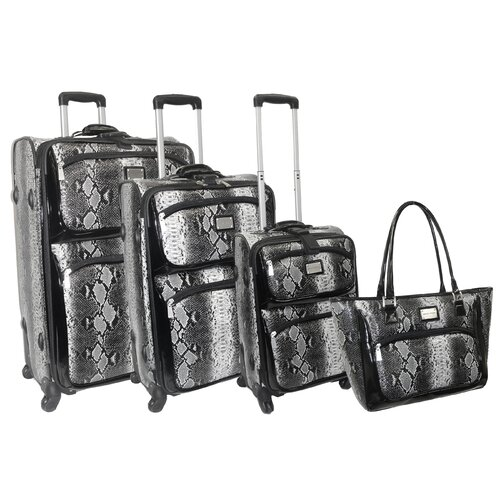 Adrienne Vittadini Madison Ave Snakeskin 4 Piece Luggage Set