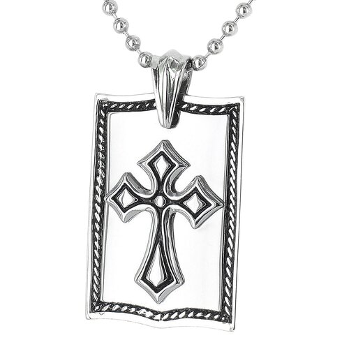 West Coast Jewelry Stainless Steel Framed Cross Dog Tag Necklace