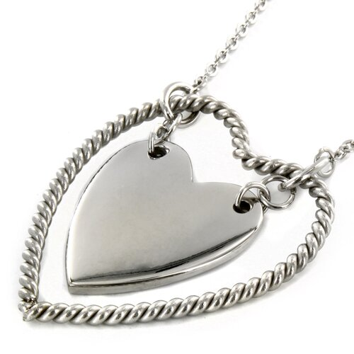 West Coast Jewelry Stainless Steel Rope Double Heart Necklace