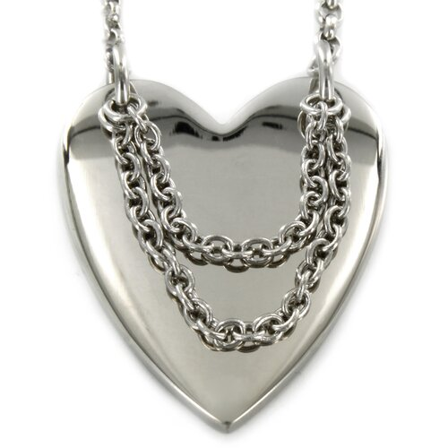 Stainless Steel Heart and Hanging Chain Necklace