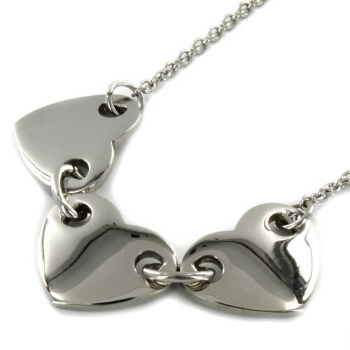 West Coast Jewelry Stainless Steel Three Piece Heart Linked Necklace