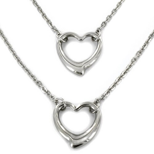 West Coast Jewelry Stainless Steel Double Strand Open Heart Pendant Necklace