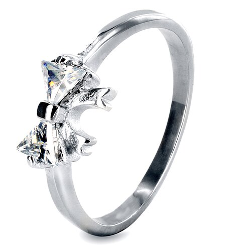 West Coast Jewelry Stainless Steel Trillion Cubic Zirconia Single Stone Ring