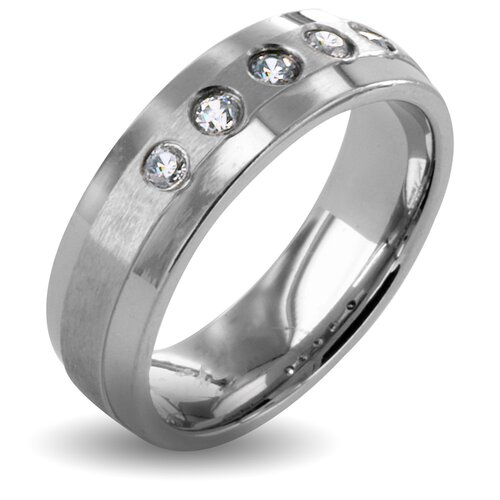 Stainless Steel Round Crystal Band Ring