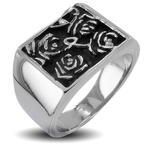 Men's Stainless Steel Hieroglyphic Flower Ring