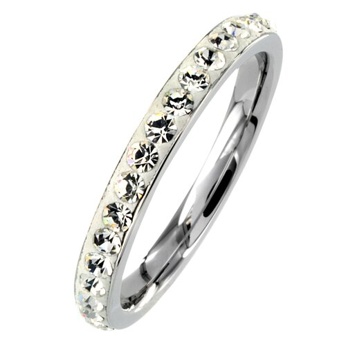 West Coast Jewelry Stainless Steel Round Cubic Zirconia Stackable Eternity Band Ring