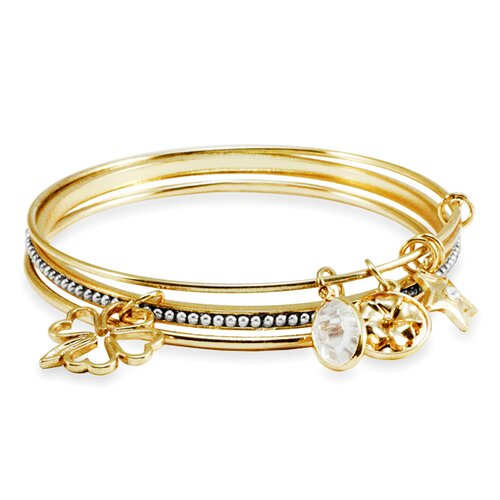 3 Piece Goldtone Beaded Charm Bangle Bracelet Set