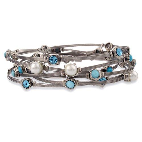 West Coast Jewelry Silvertone Gemstone Wire Bracelet Set