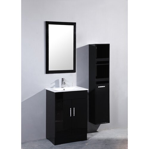 "Legion Furniture 24"" Vanity Set with Mirror and Side Cabinet"