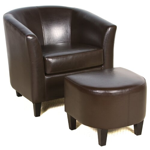 Home Loft Concept Brighton Bonded Leather Club Chair and Ottoman Set