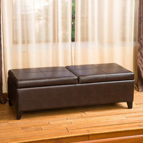 Home Loft Concept Taren Leather Storage Ottoman