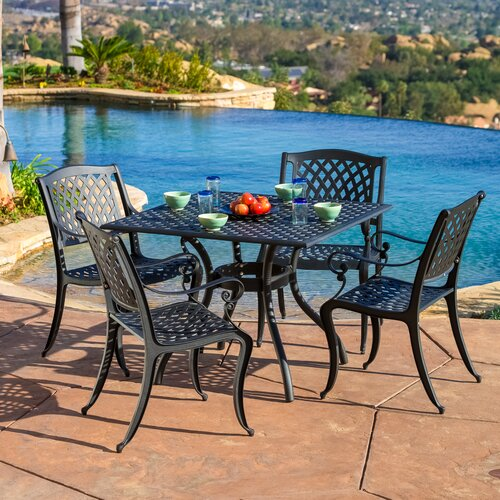 stanza 5 piece cast aluminum outdoor dining set reviews wayfair