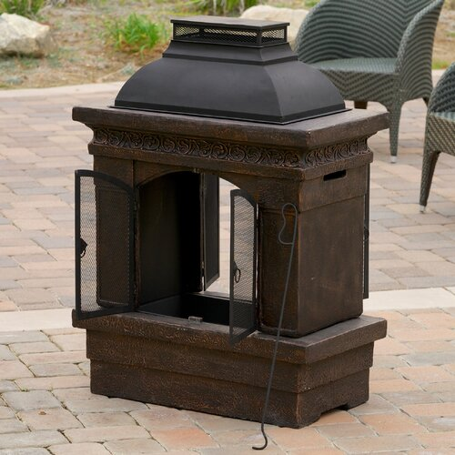 Home Loft Concept Barbados Outdoor Copper Stone Chiminea Fireplace
