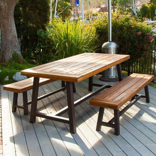 Home Loft Concept Mille Rustic Metal 3 Piece Outdoor Dining Set