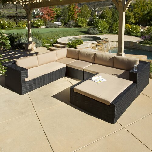 Home Loft Concept Brooklyn Wicker 5 Piece Outdoor Sectional