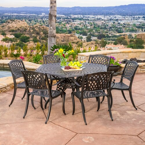 Home Loft Concept Sydney 7 Piece Cast Aluminum Outdoor Dining Set