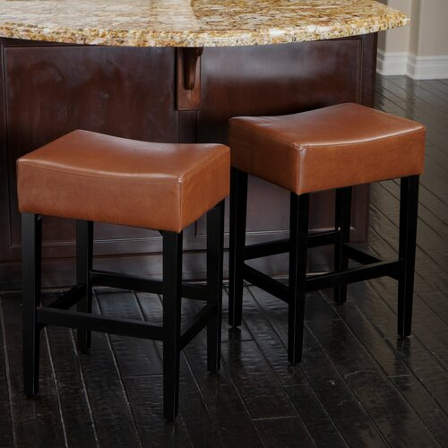 """Home Loft Concept Develin 27"""" Backless Leather Counterstools"""
