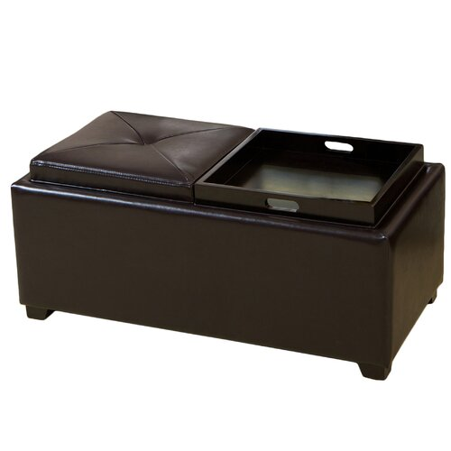 Powell Leather Tray Ottoman
