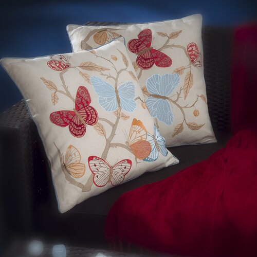 "Home Loft Concept Nature 18"" Butterfly Flowers Pillows (Set of 2)"