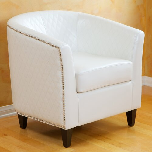 Home Loft Concept Alford Bonded Leather Quilted Barrel Chair