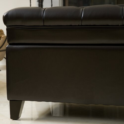 Home Loft Concept Isaako Tufted Leather Storage Ottoman