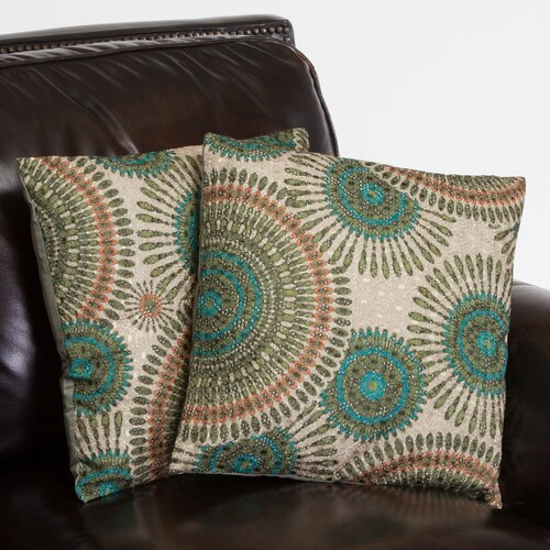 "Home Loft Concept Sarah 16"" Floral Circles Pillows (Set of 2)"