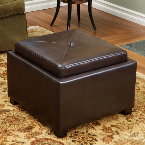 Home Loft Concept Drexel Leather Tray Top Storage Ottoman