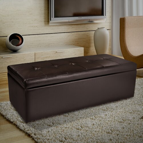 Home Loft Concept Van Ness Leather Storage Ottoman