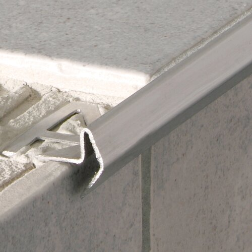 "Blanke Deco 96"" x 1"" Stair Nose Profile Counter Rail Tile Trim in Stainless Steel Rust Resistant Roll Formed"