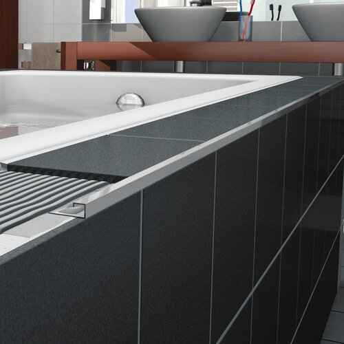 "Blanke Cubeline 96"" x 1"" Counter Rail Tile Trim in Aluminum Shiny Silver Anodized"