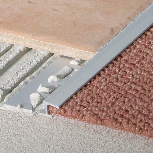 "Blanke 0.3125"" Extruded Anodized Aluminum Carpet Trim in Satin Silver"