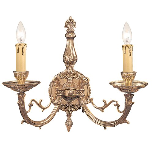 Crystorama Olde World 2 Light Ornate Candle Wall Sconce