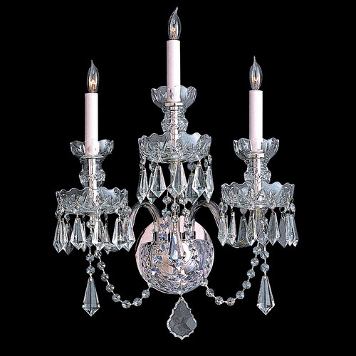 Crystorama Bohemian 3 Light Crystal Candle Wall Sconce