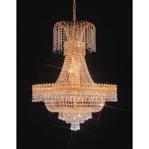 Crystorama Empire II Twenty Light Chandelier in 24K Gold Plated