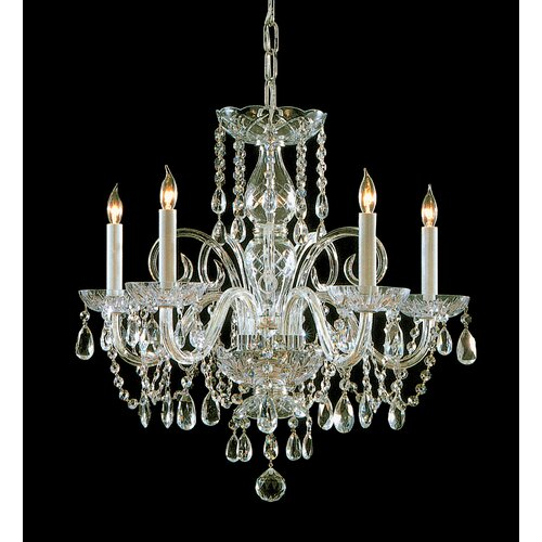 Crystorama Traditional Crystal 5 Light Glass Chandelier