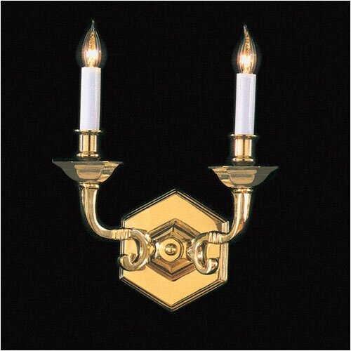 Crystorama Historical Brass 2 Light Candle Wall Sconce