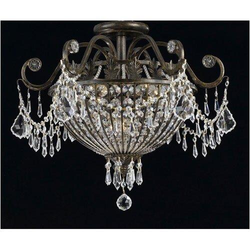 Crystorama Traditional Classic Crystal 9 Light Semi Flush Mou