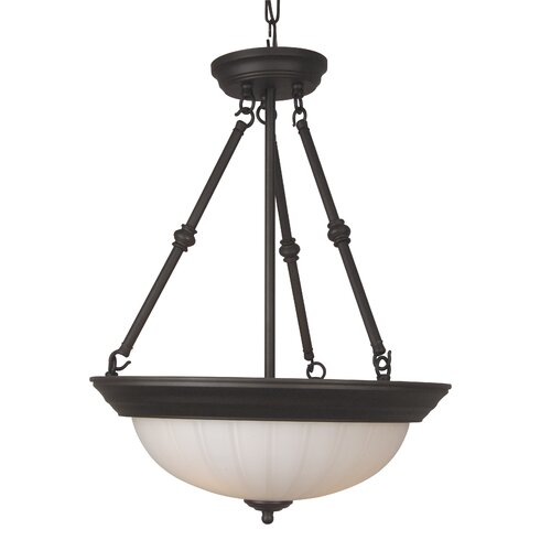 Frosted Melon Step Pan 3 Light Inverted Pendant